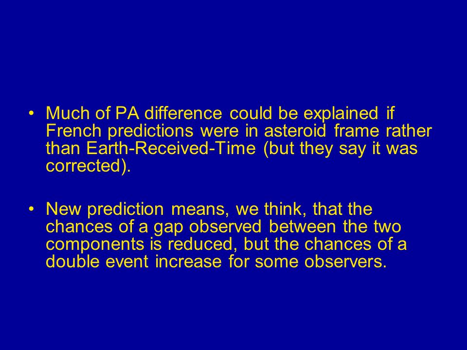 Much of PA difference could be explained if French predictions were in asteroid frame rather than Earth-Received-Time (but they say it was corrected).