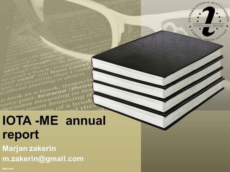 IOTA -ME annual report Marjan zakerin m.zakerin@gmail.com