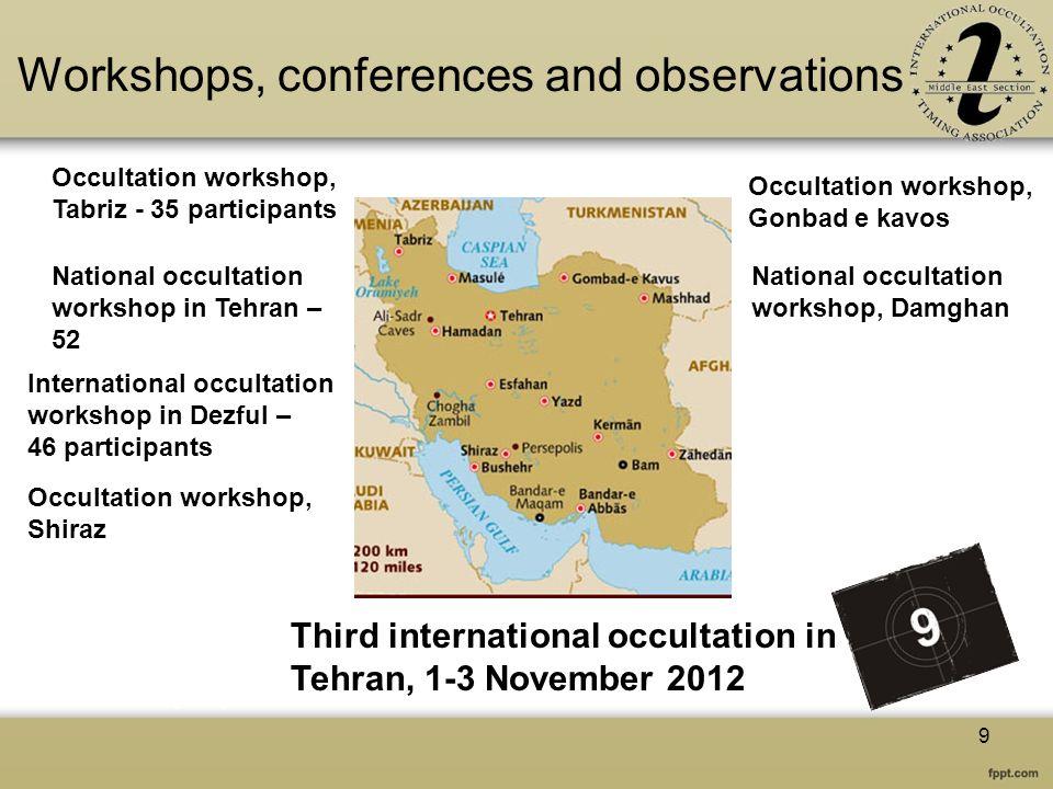 Workshops, conferences and observations Occultation workshop, Tabriz - 35 participants National occultation workshop in Tehran – 52 National occultati