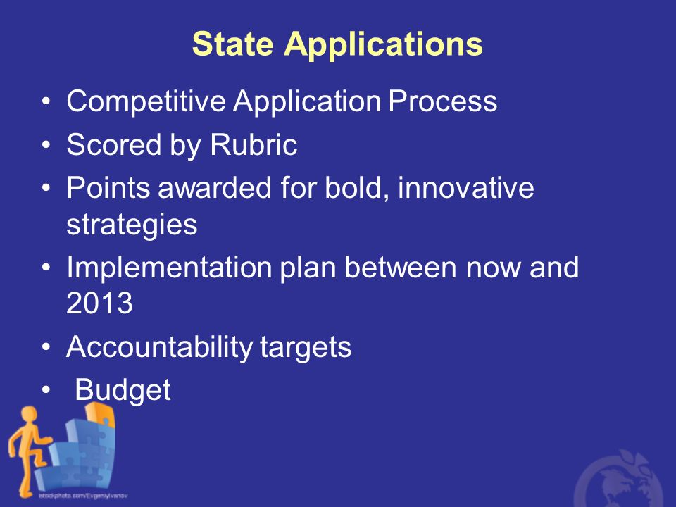 State Applications Competitive Application Process Scored by Rubric Points awarded for bold, innovative strategies Implementation plan between now and