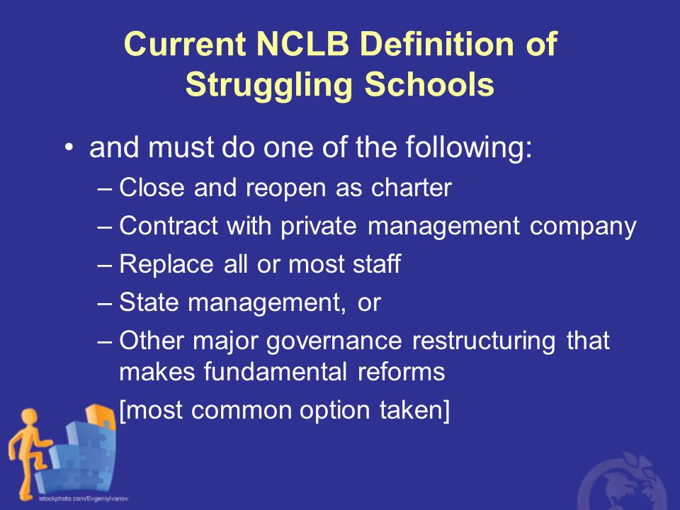 Current NCLB Definition of Struggling Schools and must do one of the following: –Close and reopen as charter –Contract with private management company