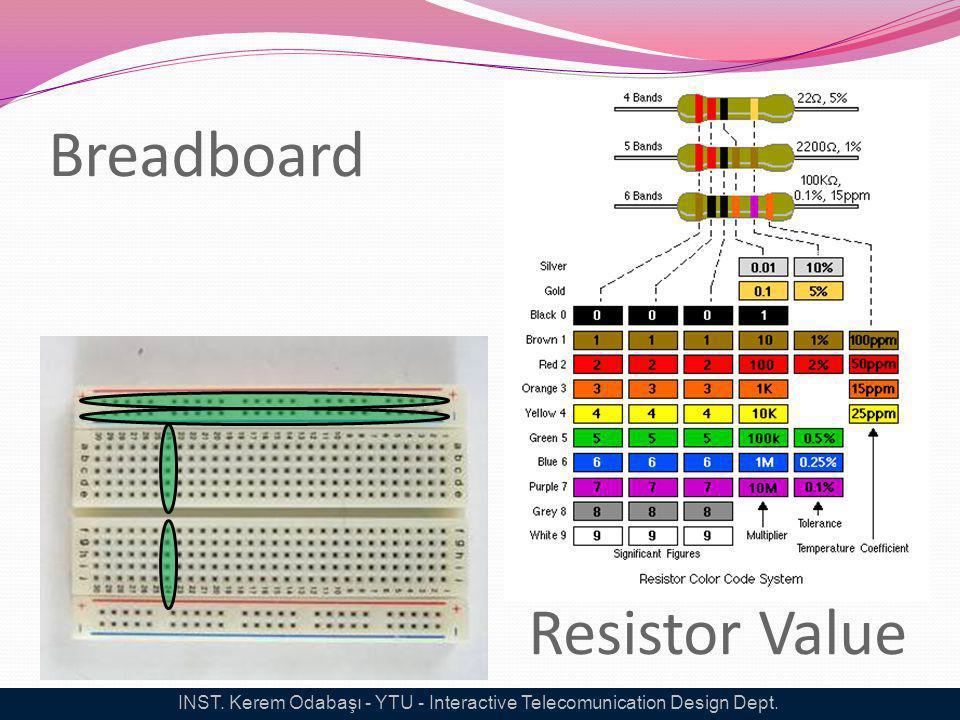 Breadboard Resistor Value INST. Kerem Odabaşı - YTU - Interactive Telecomunication Design Dept.