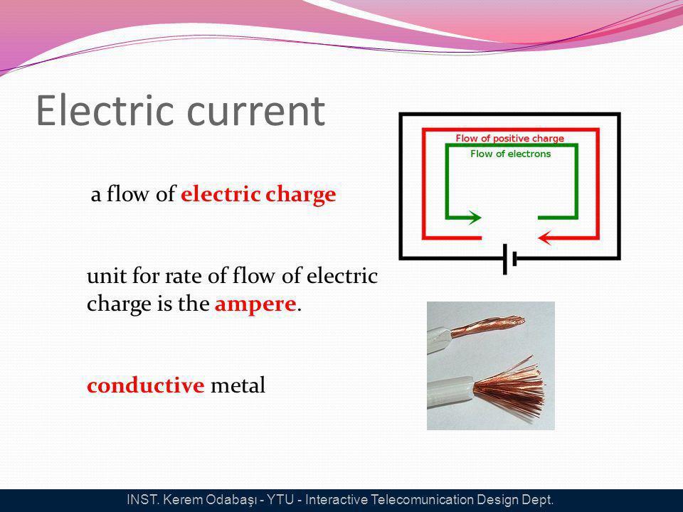 Electric current a flow of electric charge unit for rate of flow of electric charge is the ampere. conductive metal INST. Kerem Odabaşı - YTU - Intera