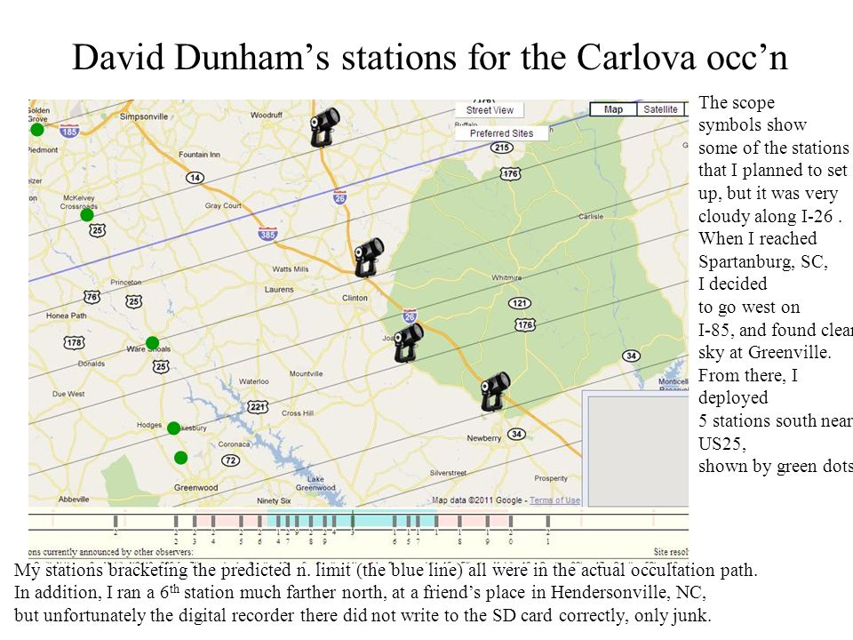 David Dunhams stations for the Carlova occn The scope symbols show some of the stations that I planned to set up, but it was very cloudy along I-26.