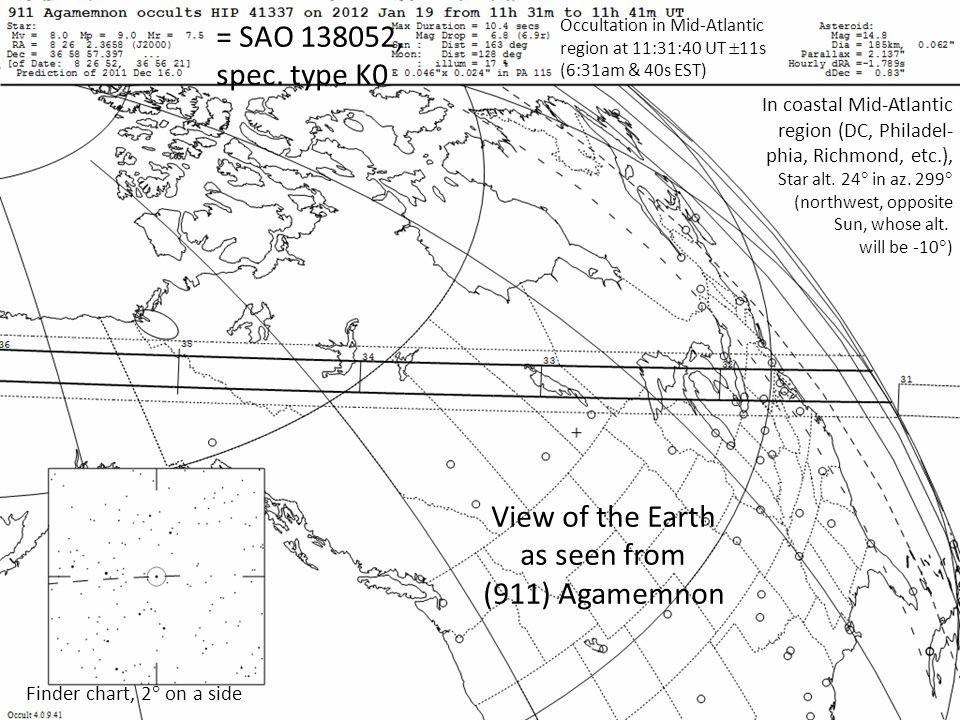 = SAO 138052, spec. type K0 In coastal Mid-Atlantic region (DC, Philadel- phia, Richmond, etc.), Star alt. 24 in az. 299 (northwest, opposite Sun, who