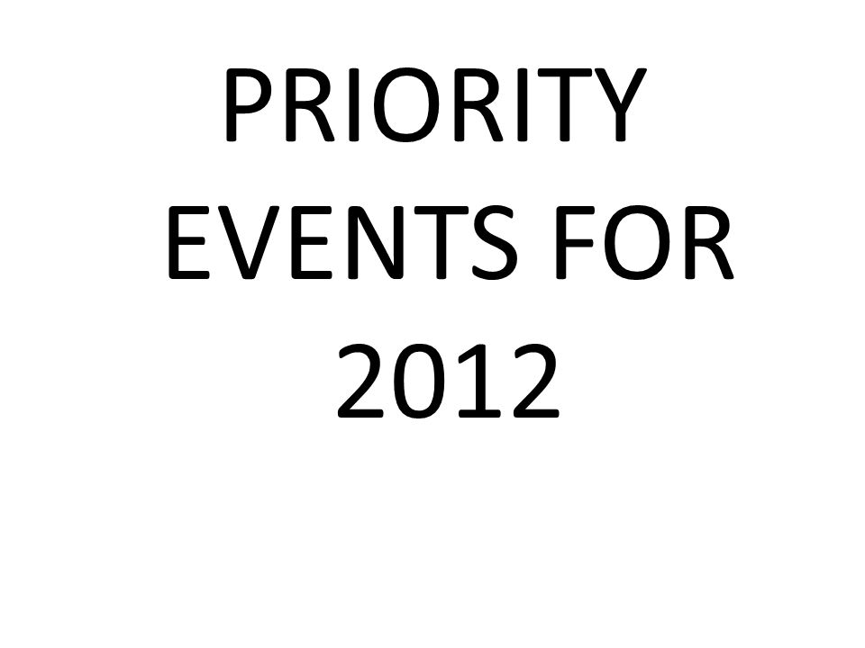 PRIORITY EVENTS FOR 2012