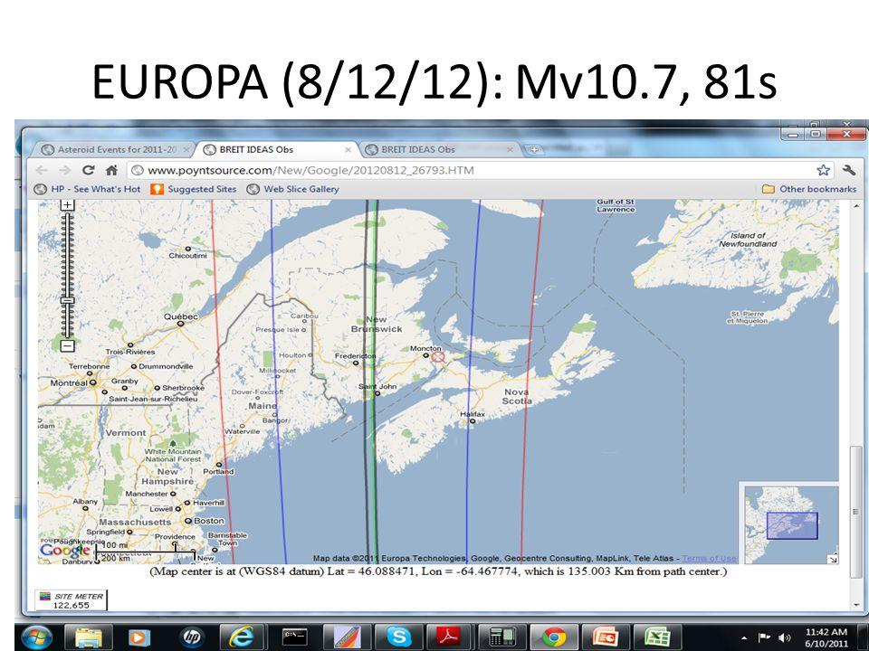 EUROPA (8/12/12): Mv10.7, 81s