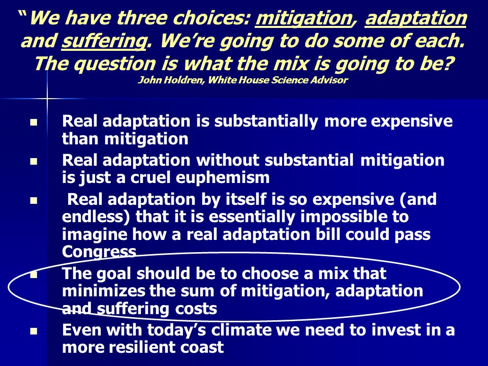 We have three choices: mitigation, adaptation and suffering.