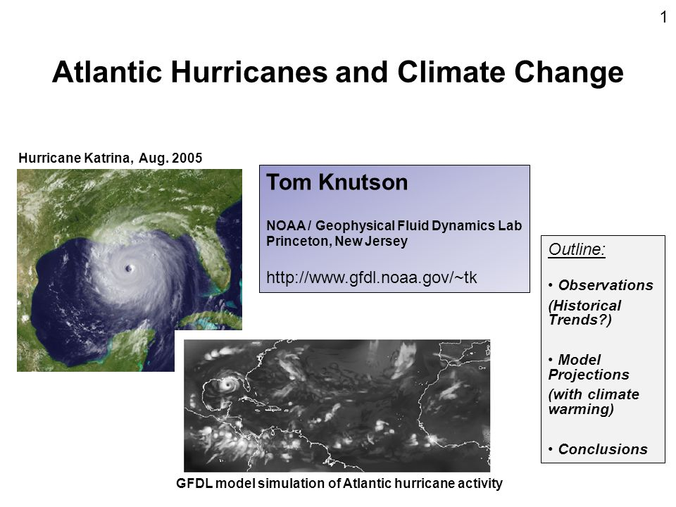 Atlantic Hurricanes and Climate Change Hurricane Katrina, Aug. 2005 GFDL model simulation of Atlantic hurricane activity Tom Knutson NOAA / Geophysica