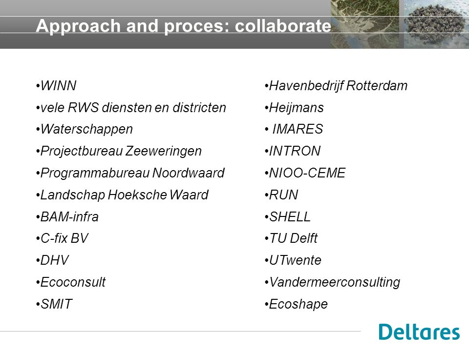 Approach and proces: collaborate WINN vele RWS diensten en districten Waterschappen Projectbureau Zeeweringen Programmabureau Noordwaard Landschap Hoe