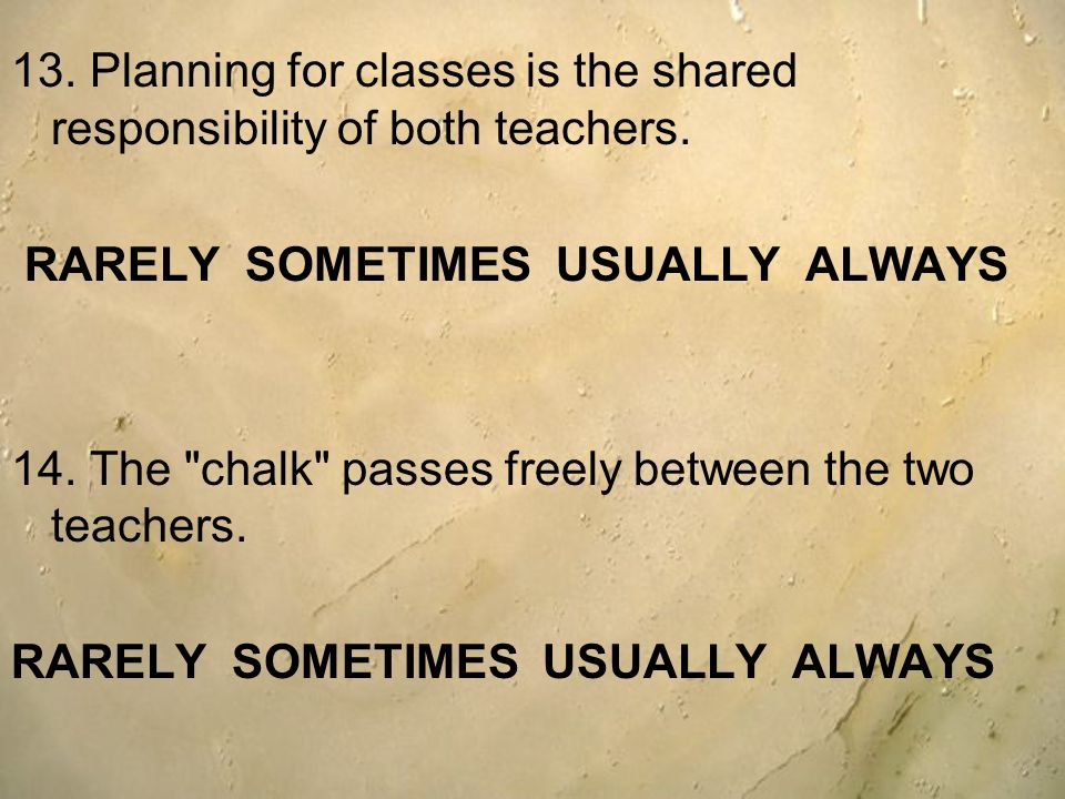 13. Planning for classes is the shared responsibility of both teachers. RARELY SOMETIMES USUALLY ALWAYS 14. The