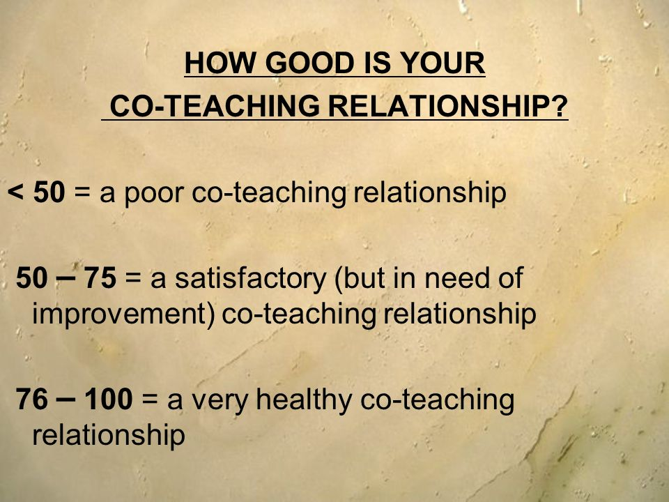 HOW GOOD IS YOUR CO-TEACHING RELATIONSHIP? < 50 = a poor co-teaching relationship 50 – 75 = a satisfactory (but in need of improvement) co-teaching re