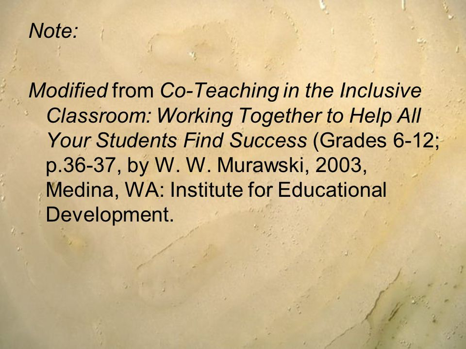 Note: Modified from Co-Teaching in the Inclusive Classroom: Working Together to Help All Your Students Find Success (Grades 6-12; p.36-37, by W. W. Mu