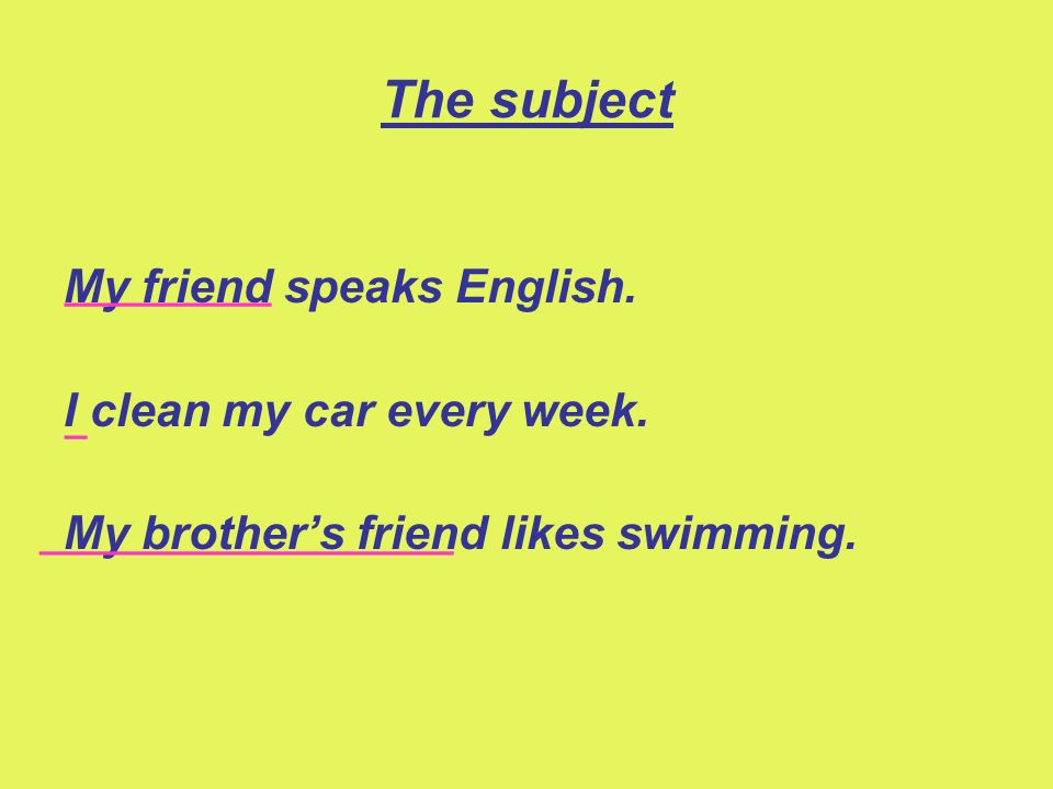 The subject My friend speaks English. I clean my car every week. My brothers friend likes swimming. _________ _ __________________