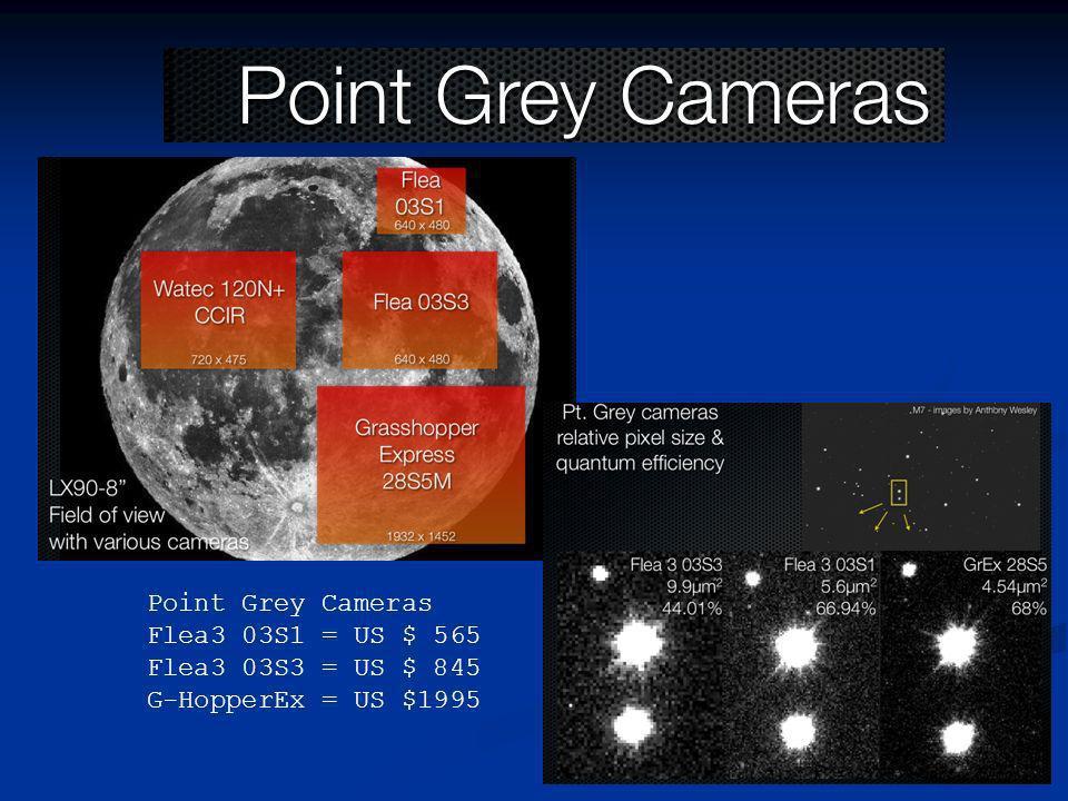 Point Grey Cameras Flea3 03S1 = US $ 565 Flea3 03S3 = US $ 845 G-HopperEx = US $1995