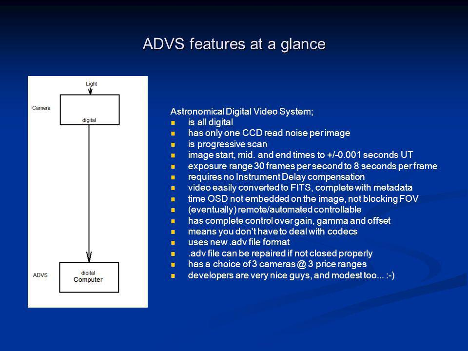 ADVS features at a glance Astronomical Digital Video System; is all digital has only one CCD read noise per image is progressive scan image start, mid