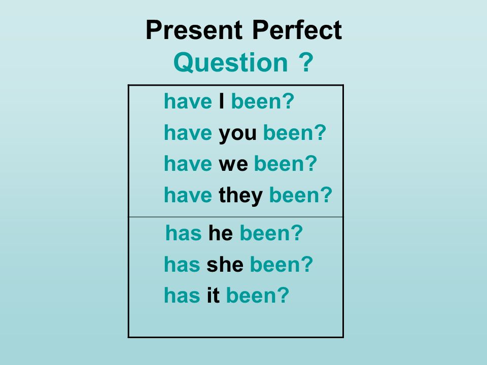 Present Perfect Question ? have I been? have you been? have we been? have they been? has he been? has she been? has it been?