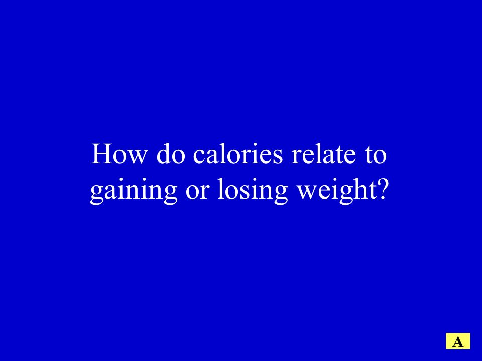 How do calories relate to gaining or losing weight A