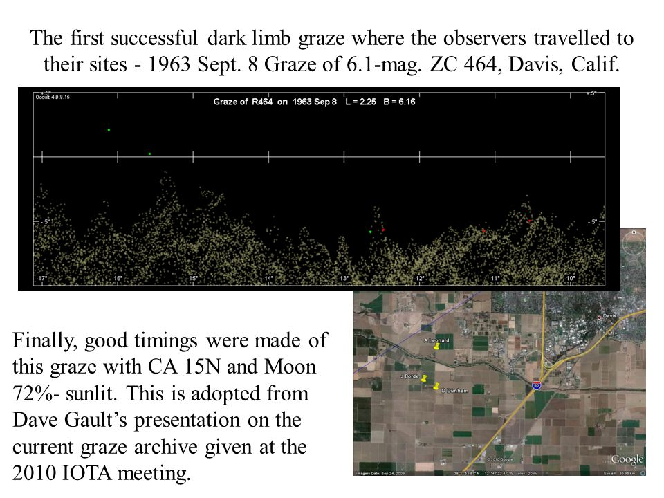 The first successful dark limb graze where the observers travelled to their sites Sept.