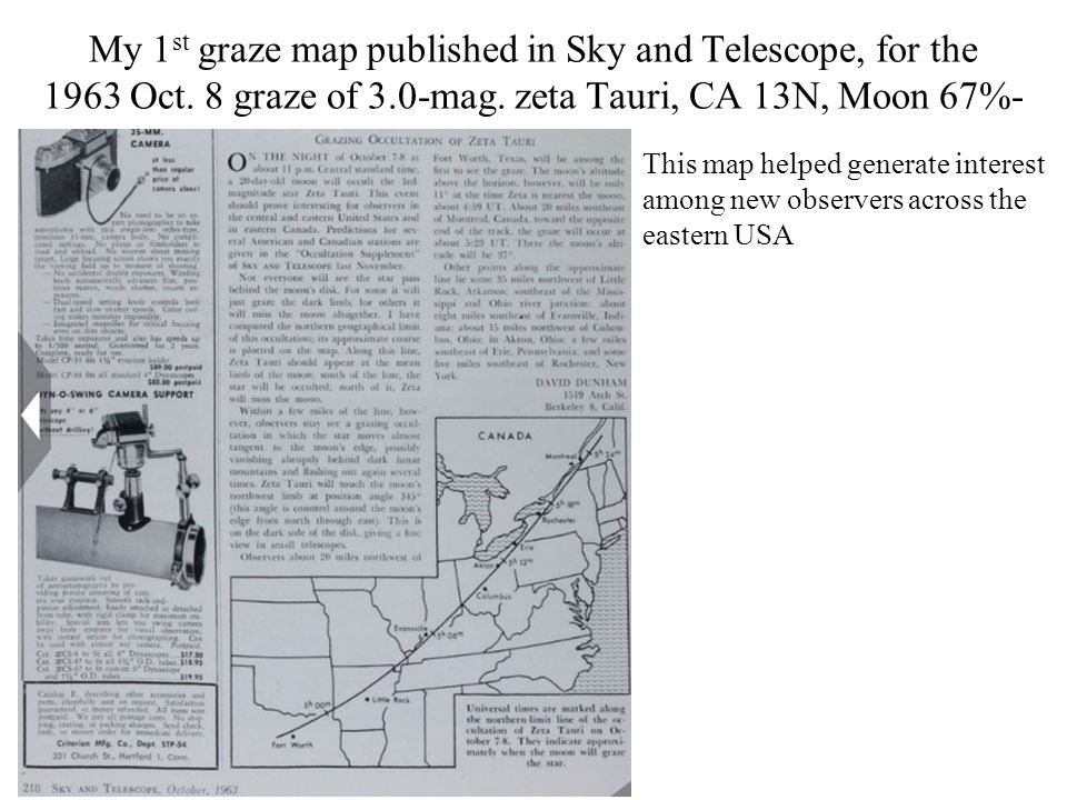 My 1 st graze map published in Sky and Telescope, for the 1963 Oct.