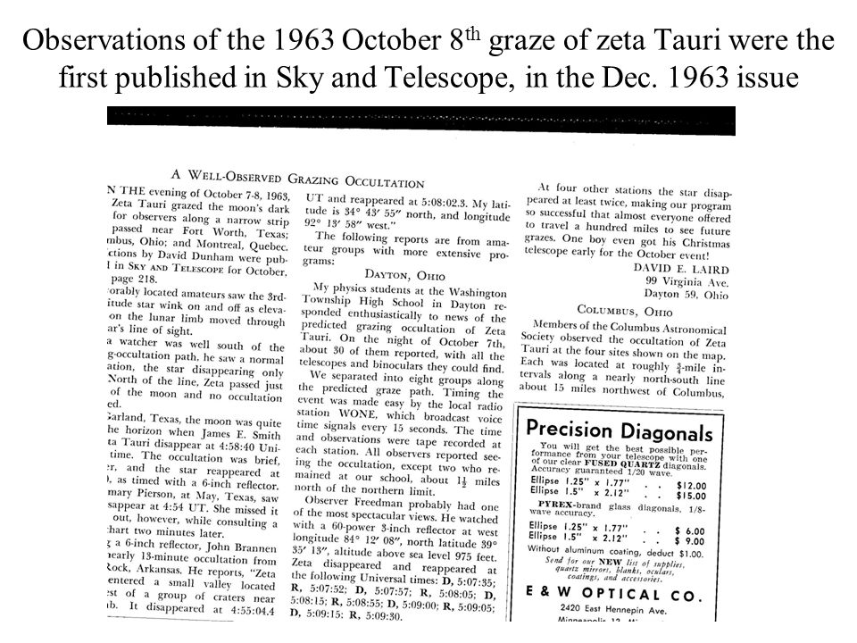 Observations of the 1963 October 8 th graze of zeta Tauri were the first published in Sky and Telescope, in the Dec. 1963 issue