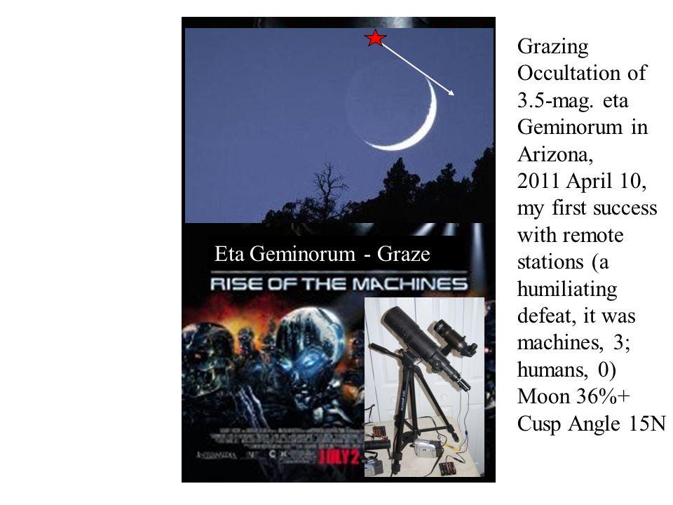 Eta Geminorum - Graze Grazing Occultation of 3.5-mag. eta Geminorum in Arizona, 2011 April 10, my first success with remote stations (a humiliating de