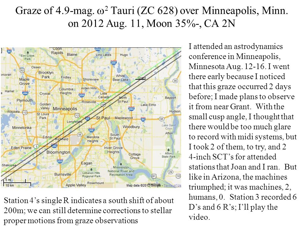 Graze of 4.9-mag. 2 Tauri (ZC 628) over Minneapolis, Minn.