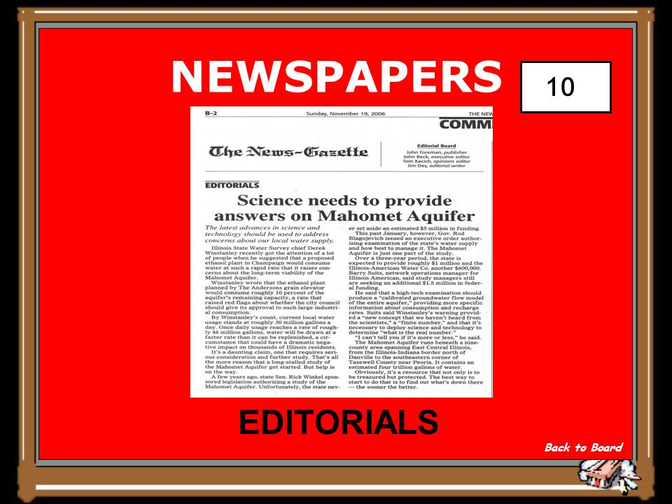 NEWSPAPERS COMMENT OPINION EDITORS WRITING Show Answer 10