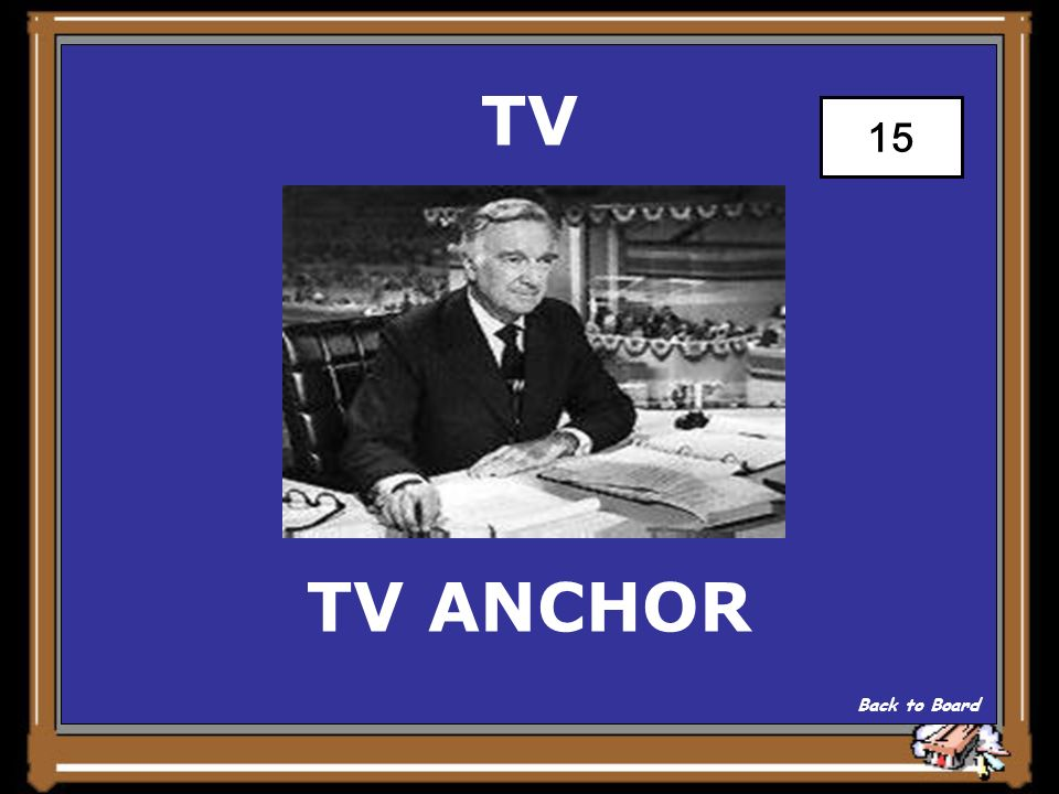 TV The main person Who presents the Nightly news Show Answer 15