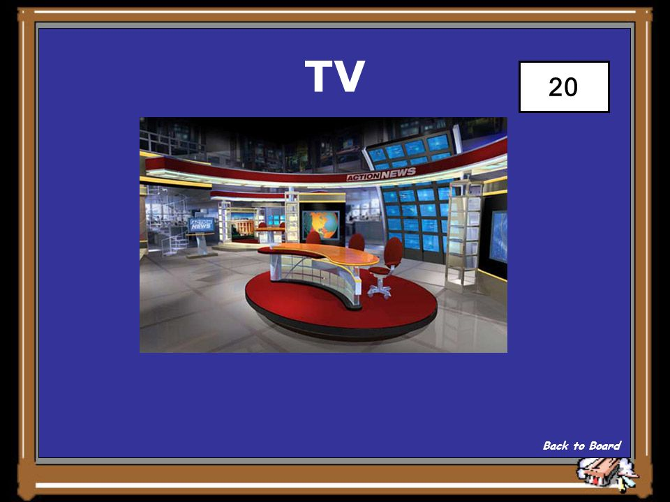 TV WHERE FILMING OFTEN TAKES PLACE Show Answer 20