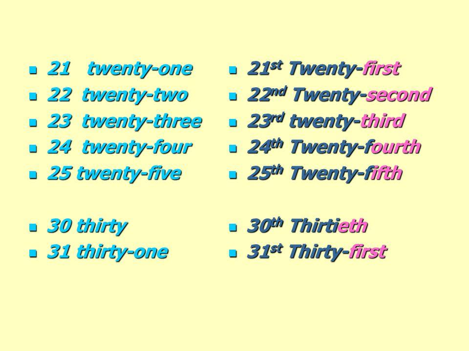 21 twenty-one 21 twenty-one 22 twenty-two 22 twenty-two 23 twenty-three 23 twenty-three 24 twenty-four 24 twenty-four 25 twenty-five 25 twenty-five 30