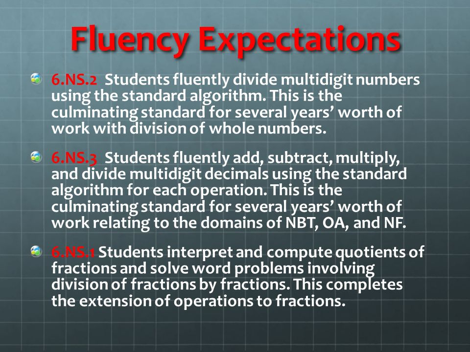 Fluency Expectations 6.NS.2 Students fluently divide multidigit numbers using the standard algorithm.