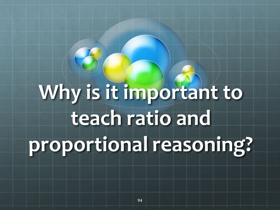 94 Why is it important to teach ratio and proportional reasoning?