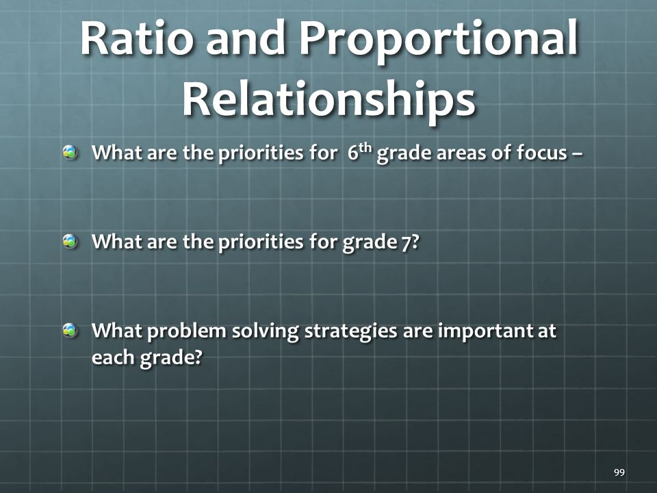 Ratio and Proportional Relationships What are the priorities for 6 th grade areas of focus – What are the priorities for grade 7.