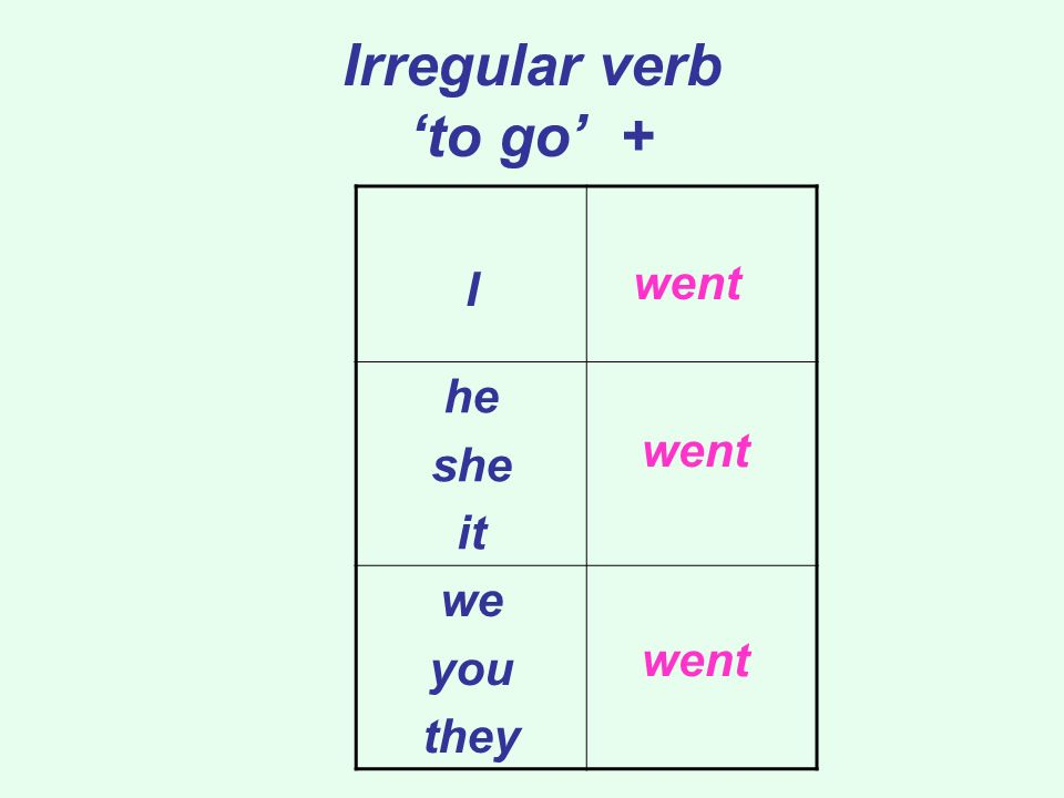 Irregular verb to go + I he she it we you they went