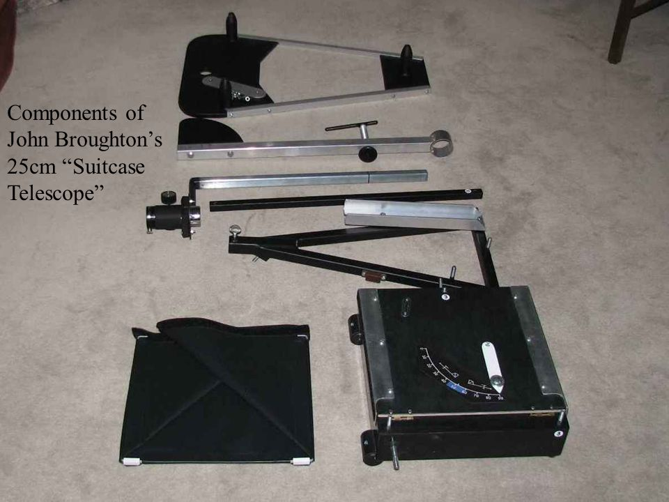 Components of John Broughtons 25cm Suitcase Telescope