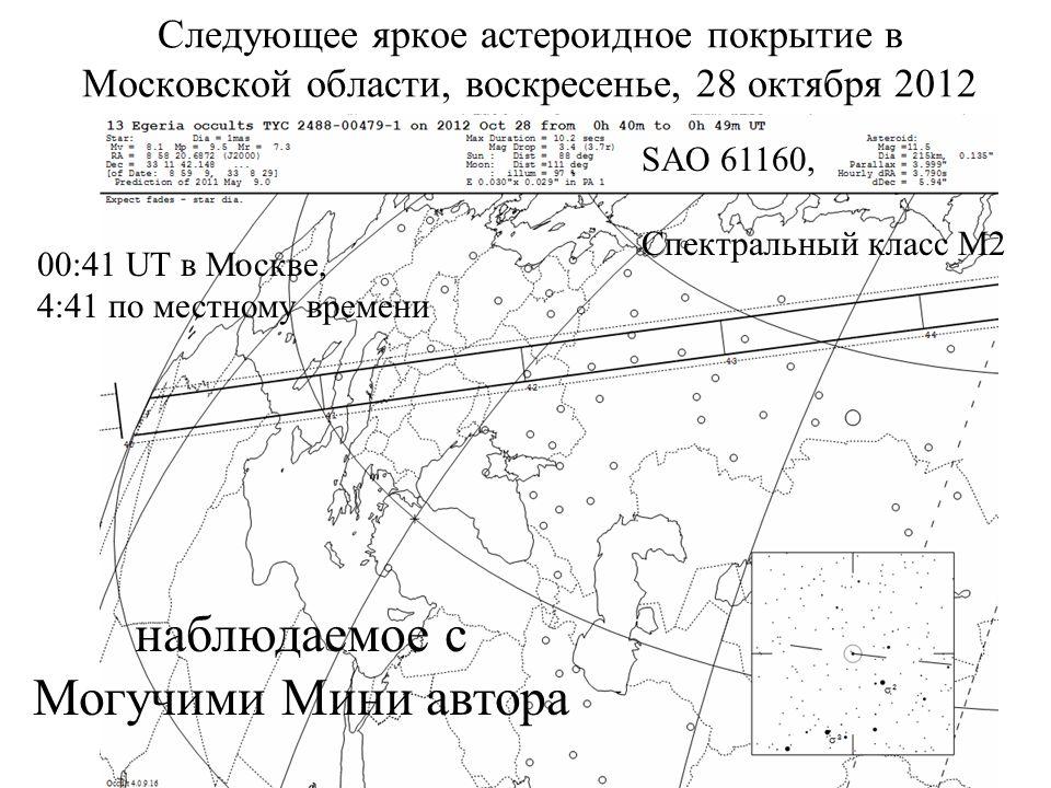 Следующее яркое астероидное покрытие в Московской области, воскресенье, 28 октября 2012 наблюдаемое с Могучими Мини автора 00:41 UT в Москве, 4:41 по местному времени SAO 61160, Спектральный класс M2