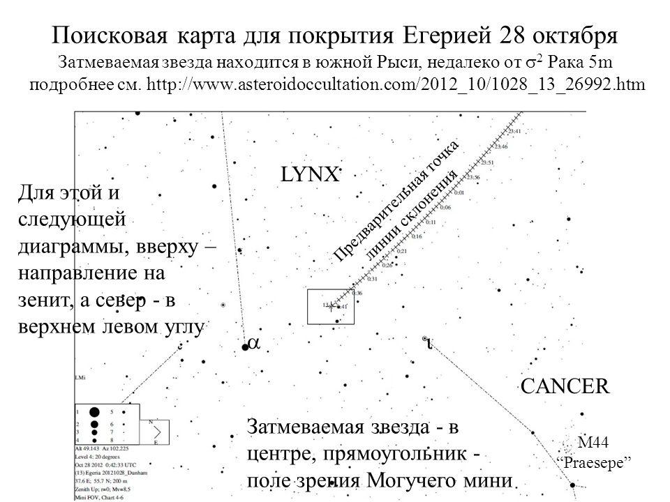 Поисковая карта для покрытия Егерией 28 октября Затмеваемая звезда находится в южной Рыси, недалеко от 2 Рака 5m подробнее см.