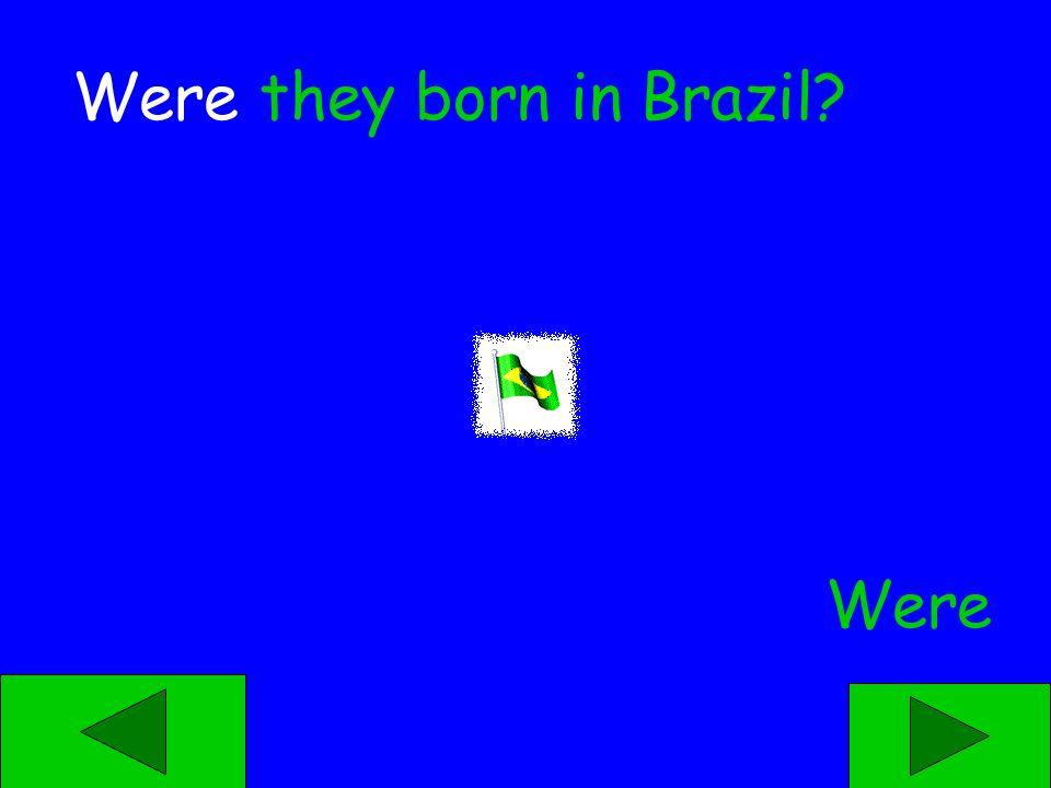 Was Were ____ they born in Brazil?