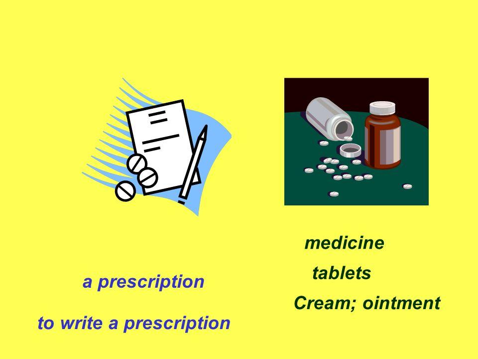 a prescription to write a prescription medicine tablets Cream; ointment