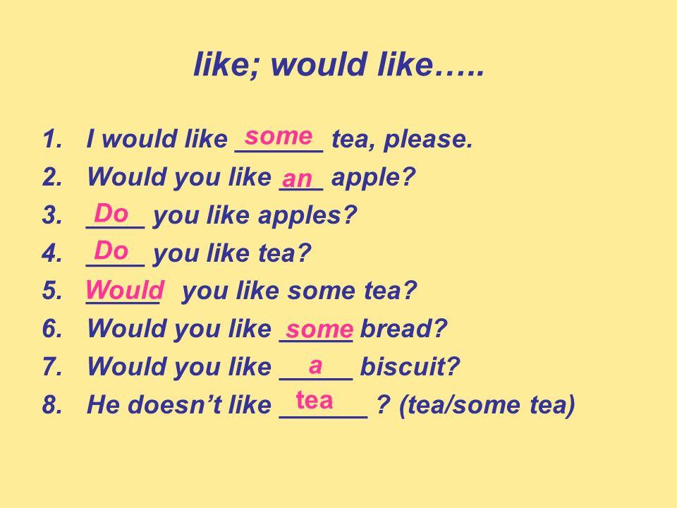like; would like….. 1.I would like ______ tea, please. 2.Would you like ___ apple? 3.____ you like apples? 4.____ you like tea? 5._____ you like some