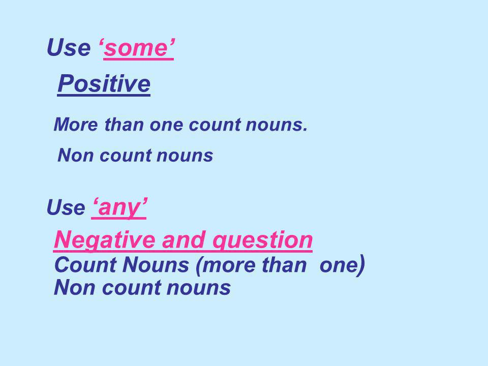 Use some Use any Positive More than one count nouns. Non count nouns Negative and question Count Nouns (more than one ) Non count nouns