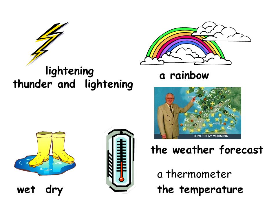 thunder and lightening the weather forecast wetdry a rainbow lightening a thermometer the temperature