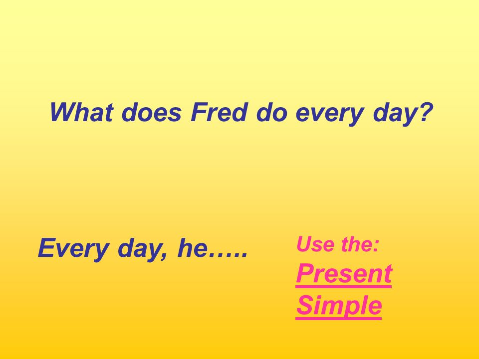 What does Fred do every day? Every day, he….. Use the: Present Simple