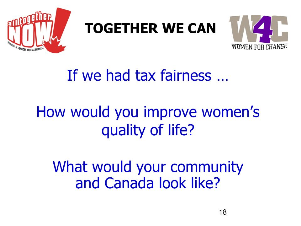TOGETHER WE CAN If we had tax fairness … How would you improve womens quality of life? What would your community and Canada look like?