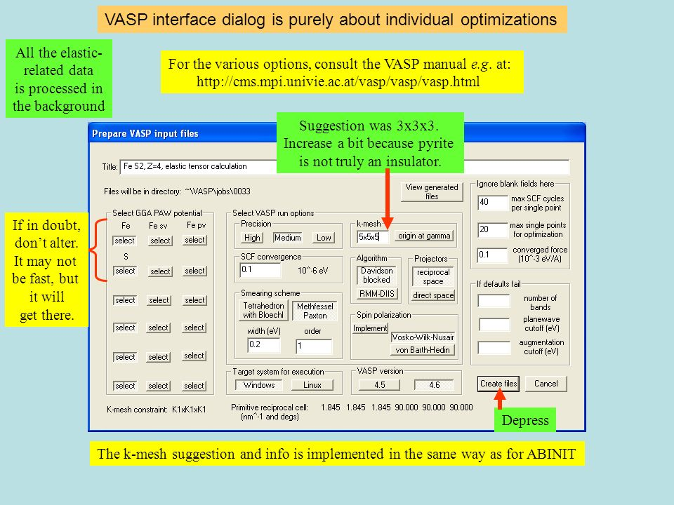 VASP interface dialog is purely about individual optimizations The k-mesh suggestion and info is implemented in the same way as for ABINIT For the var