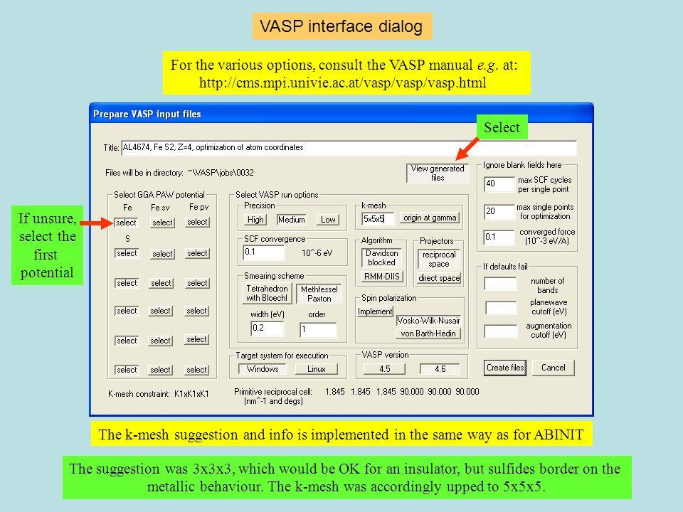 VASP interface dialog The k-mesh suggestion and info is implemented in the same way as for ABINIT For the various options, consult the VASP manual e.g