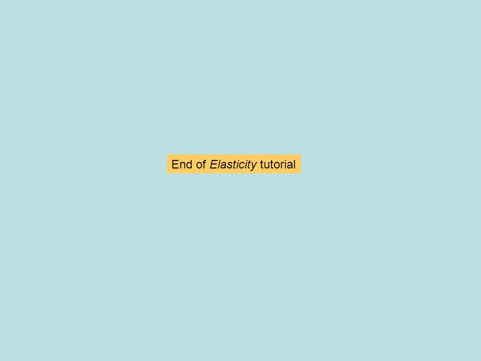 End of Elasticity tutorial