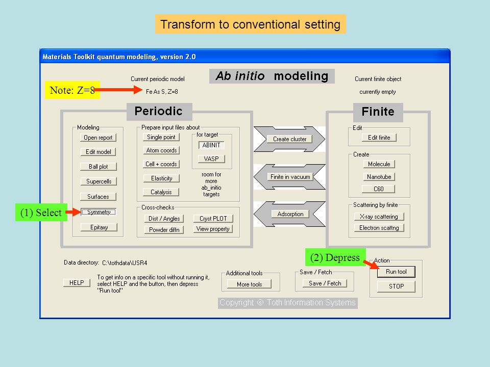 Transform to conventional setting (1) Select (2) Depress Note: Z=8