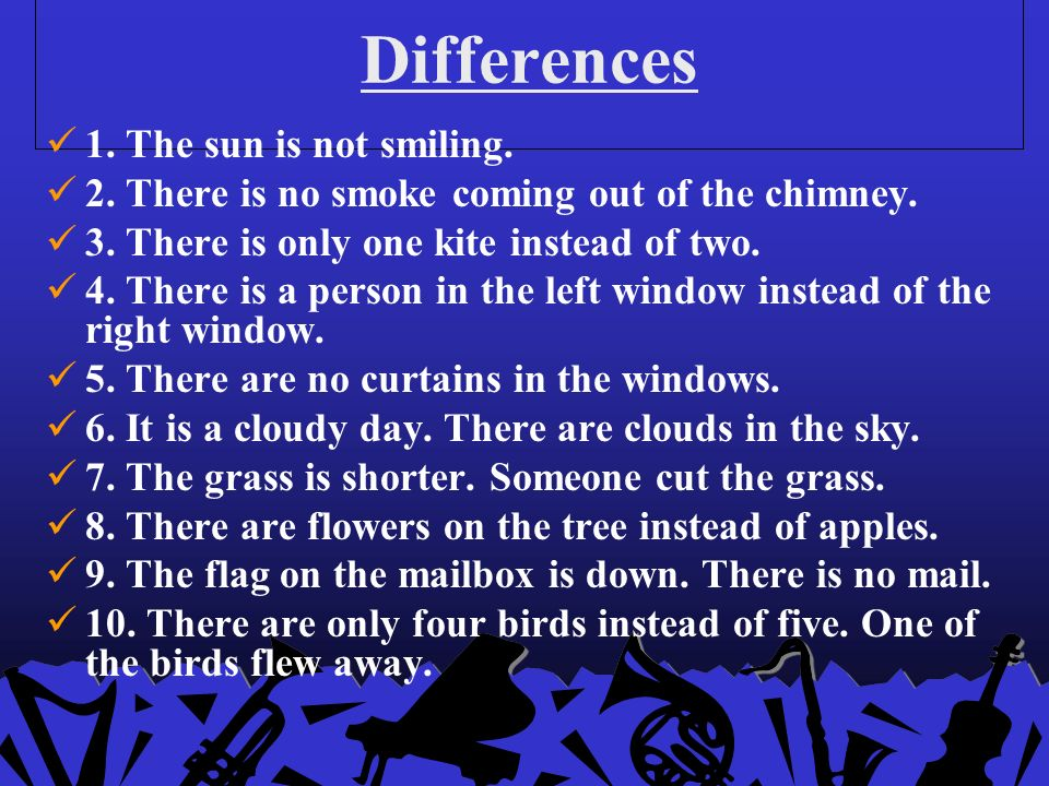 Differences 1.The sun is not smiling. 2. There is no smoke coming out of the chimney.